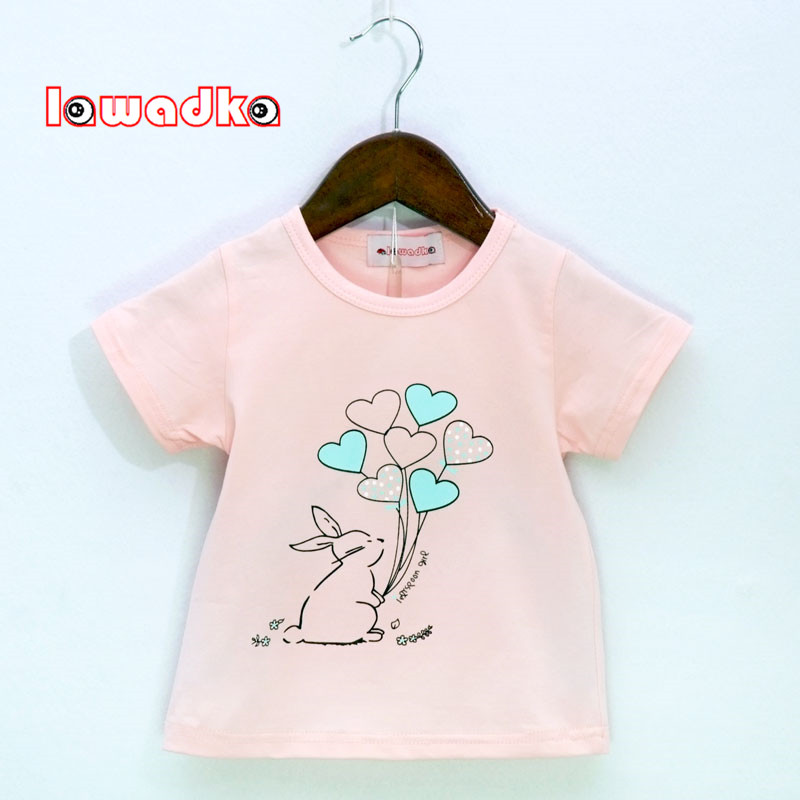Lawadka Rabbit Balloon Pattern Sport Baby Girls Boys t-shirt Short Sleeve t-shirts for Girls Cotton Children Clothes