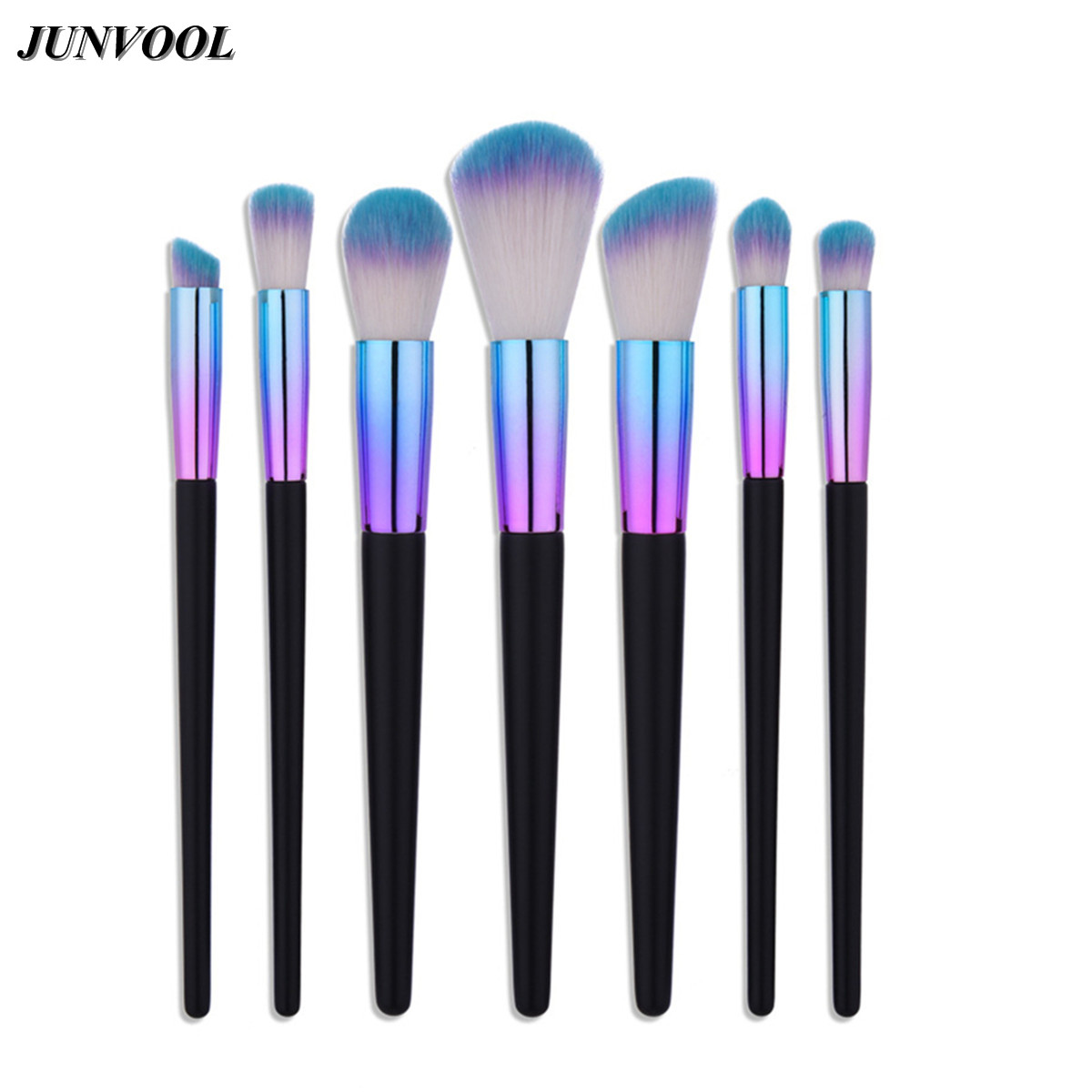 Wood Handle Makeup Brushes Set 7Pcs/set Dazzle Glitter Foundation Powder Brush Kit Rainbow Eyeshadow Lip Kabuki Beauty Tools aquarium liquid glitter brush set mermaid makeup brushes bling bling glitter handle make up brush kit pincel sereia maquiagem