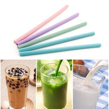 Portable Juice Beverage Reusable Travel Straight Silicone Drinking Straw Pipe Bar Tool