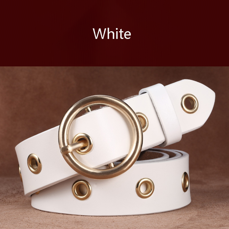 Ремень женский широкий кожаный Простой золотой круглый пряжка кожаный ремень ремни модное украшение корейский Повседневный ремень для джинсов подарки - Цвет: Слоновая кость