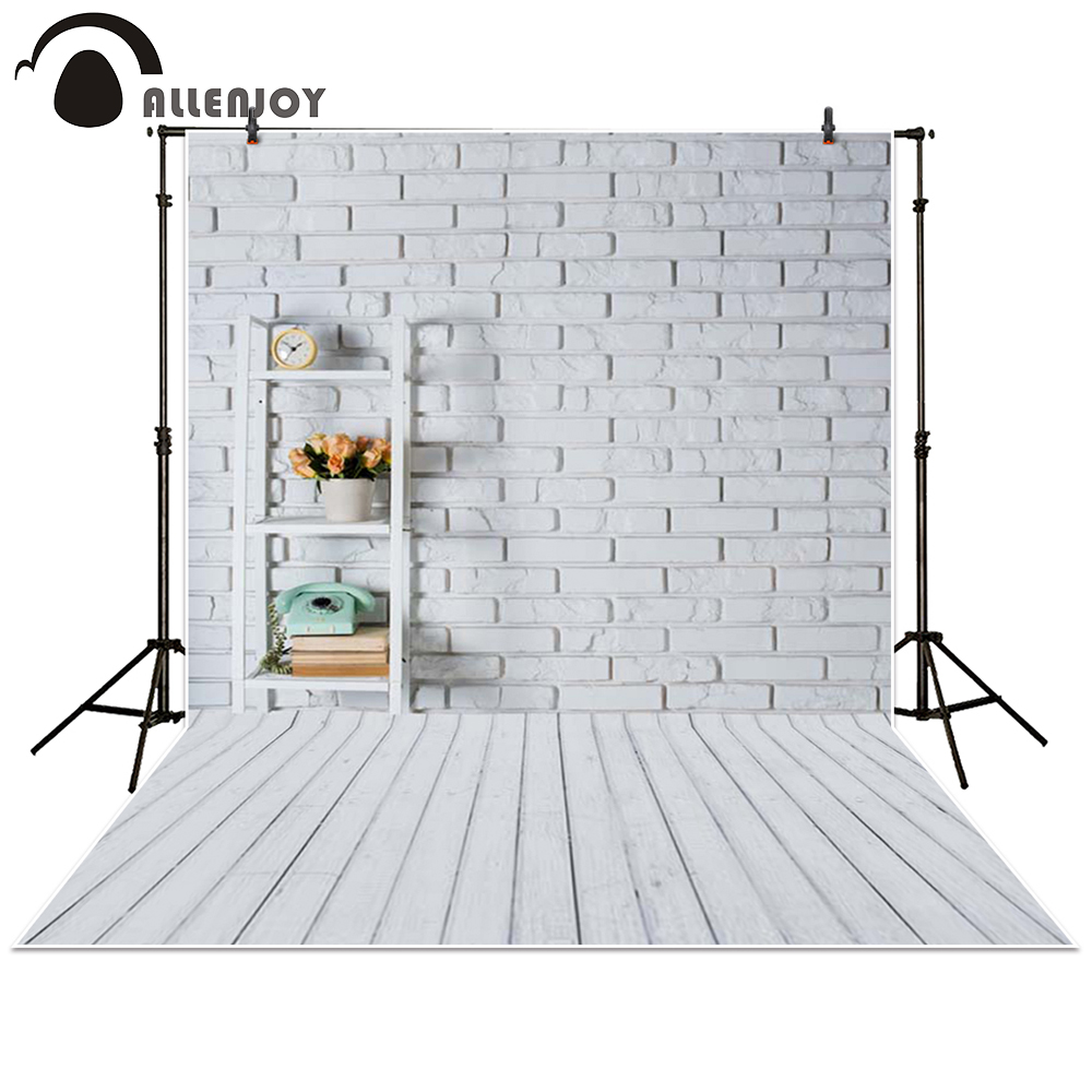 Allenjoy photography backdrop Wooden brick wall white flower alarm clock baby shower children background photo studio photocall 5x7ft white backdrop board photo background photography white studio cloth flower rattan corridor
