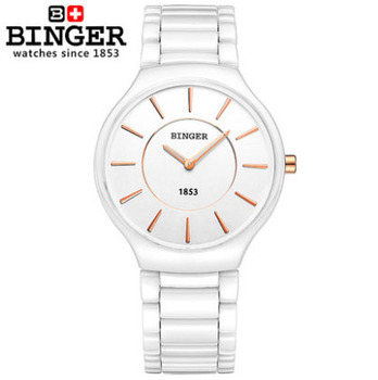 Lovers Top Brand Men Watches White Ceramic Slim And Stylish Women Dress Wristwatches Female Form Round montre femme