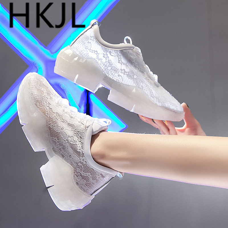 HKJL 2019 summer European station lace mesh stitching breathable platform shoes for women fashion trend sneakers A599