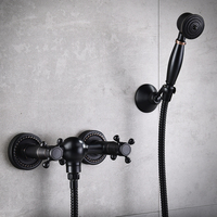 1 Set bath shower faucet Hot and cold water mixer taps with hand sprayer black wall mounted shower head