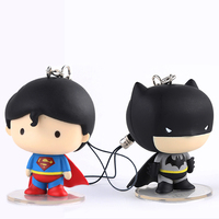 Free Shipping Cute 6pcs 2 Justice League Superman Batman Keychain Boxed 5cm PVC Action Figure Model Collection Doll Toys Gift