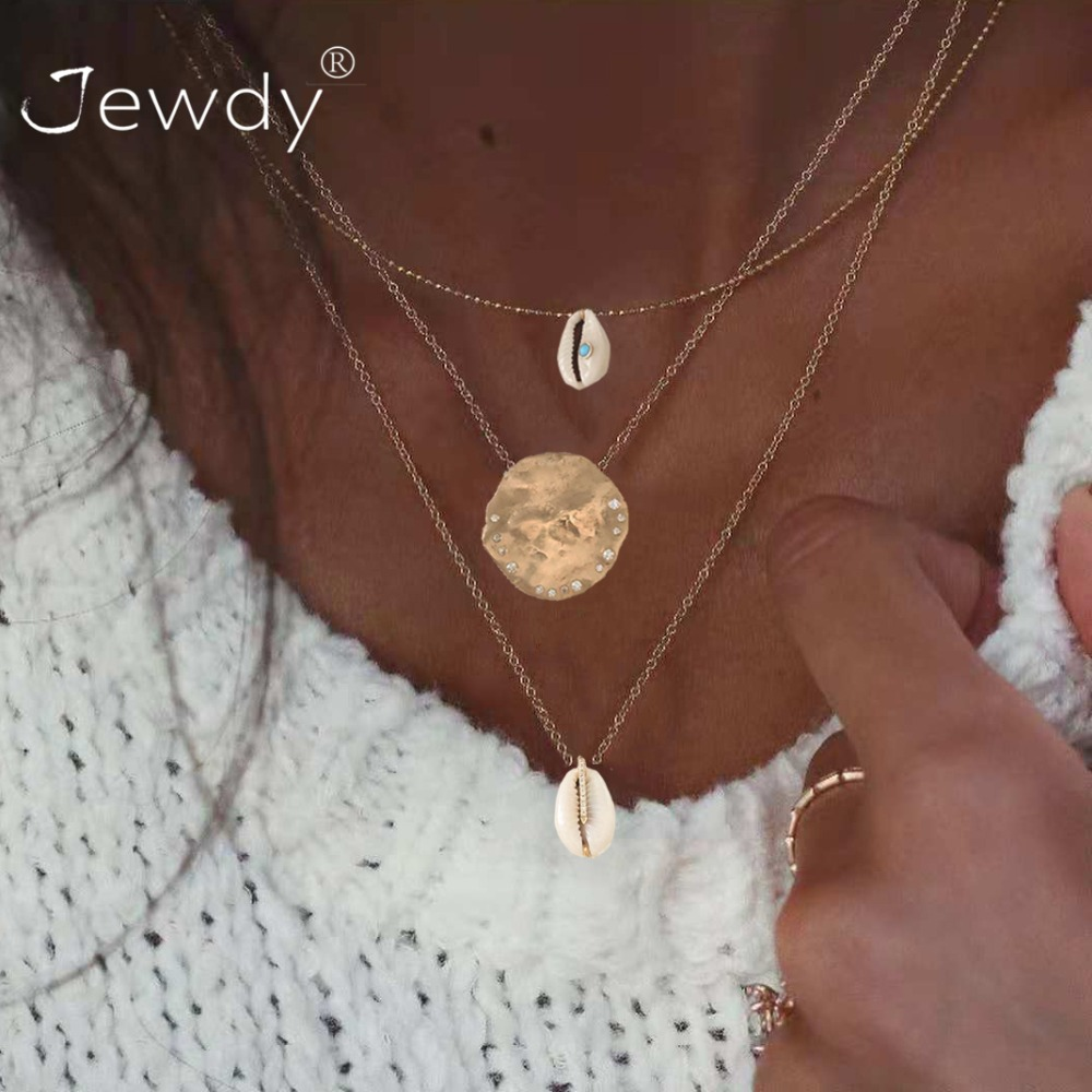3 PCS/Set Boho Shell Pendant Necklace for Women Long Chain Round Charm Statement Choker 2019 Collares Necklace Wedding Jewelry(China)