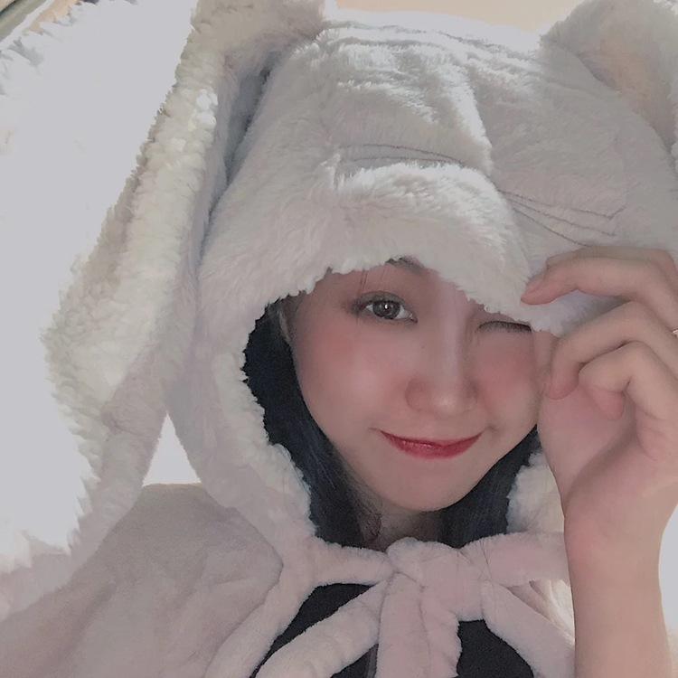 Cute Pink Comfy Blanket Sweatshirt Winter Warm Adults and Children Rabbit Ear Hooded Fleece Blanket Sleepwear Huge Bed Blankets 90