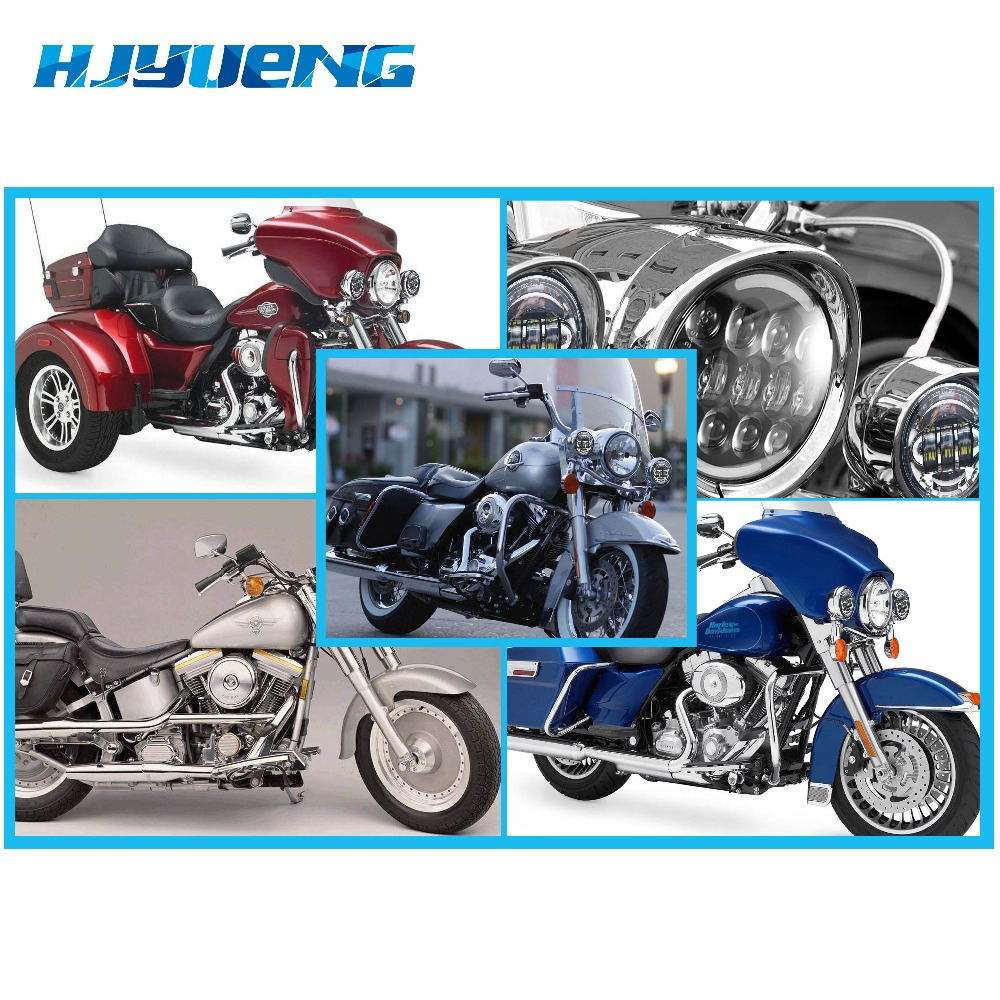 Image 5 - Motorcycle Accessories Black  led Moto Fog Lamp 4 1/2 Inch Round Headlamp for Harley  Chrome Auxiliary Lights