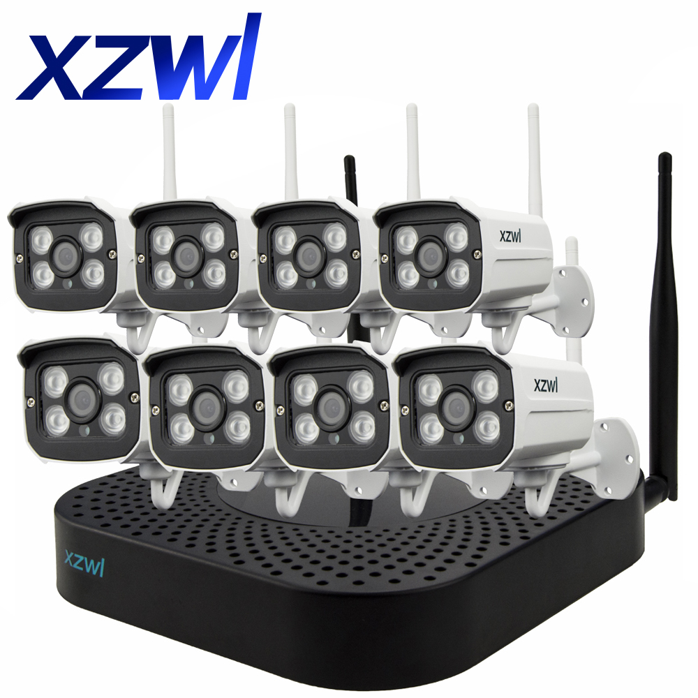 Plug and Play 8CH NVR Wireless Closed Circuit TV System 720P HD H.264 Mini Home Security Video Wireless IP Camera Monitor Kit