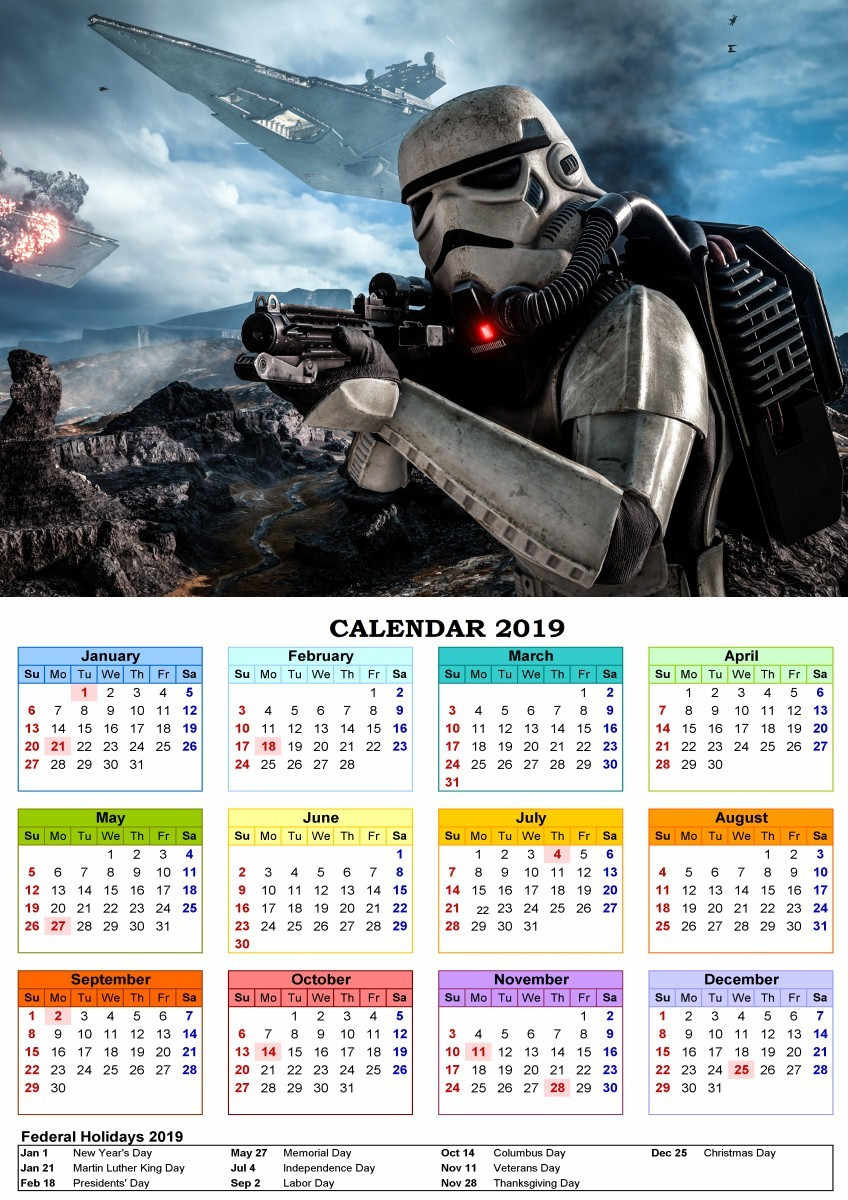 Star Wars Coated paper 2019 Calendar Poster Movie Wall Picture Print Home  Bedroom Decoration