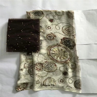 New Arrival satin silk fabric Fashion african wax pattern design Eco Friendly silk fabric for Party Dress 5+2 yards LXE032722