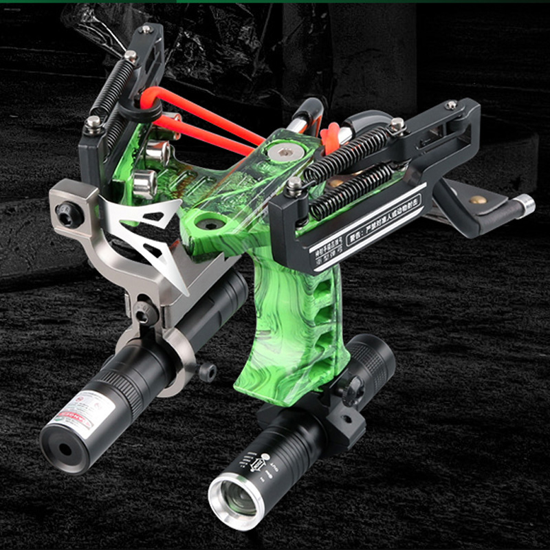 Powerful Profesional Stainless Hunting Slingshot With Spring High Velocity Catapult Outdoor Slingshots Green Laser