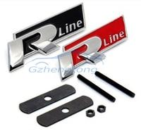 3D Metal Alloy R Line Logo Car Front Hood Grille Emblem Stickers For Volkswagen Golf Passat