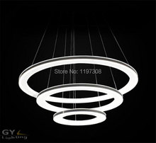 Modern LED Acrylic hanging chandeliers Light Fixture Circle Ring Lustre suspension Lamp White led Lighting Stair Lights Diamond