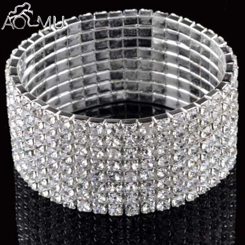 Silver Black Cream Pearl Bead Crystal Diamante Stretch Elastic Bracelet Bangle