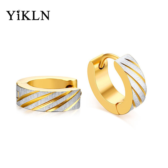 Yikln Brand New Listing Anium Steel Men S Earrings Ethnic Style Gold Color Hoop Male Jewelry