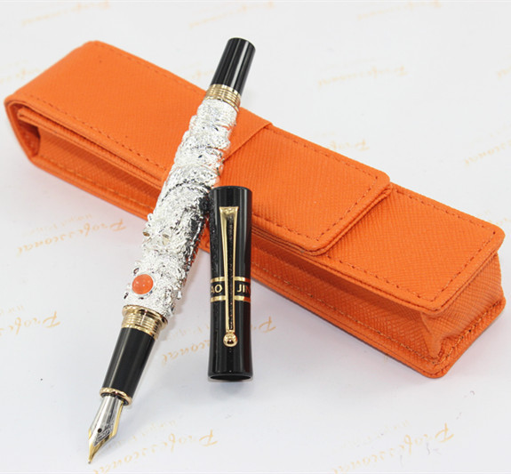 high quality Jinhao Fountain Pen luxury Silver 0.5mm Nib metal dragon pen luxury fountain pen fine nib / pencil case dikawen 891 gray gold dragon clip 0 7mm nib office stationery metal roller ball pen pencil box cufflinks for mens luxury