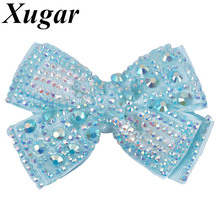 4 Xugar Hair Accessories Bows for Girls Full Rhinestone Pearl Clips Grosgrain Ribbon Knot Boutique Hairgrips