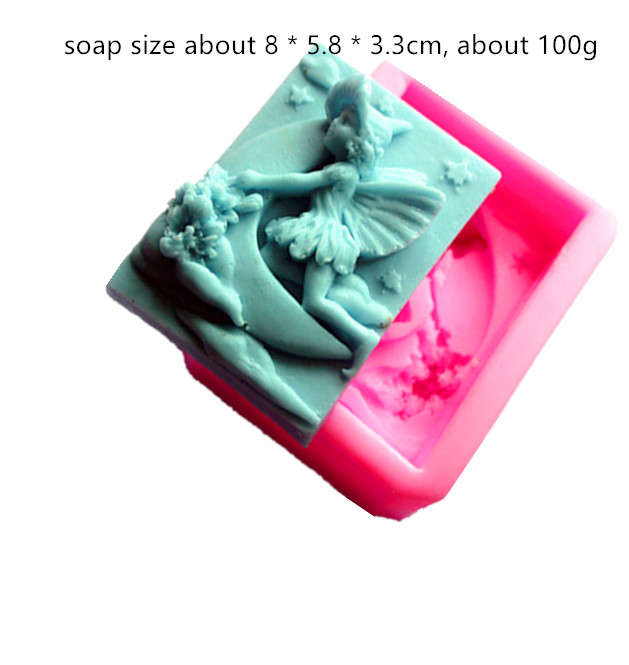 Moon Pattern Fairy Silicone Carving Molds DIY Soap Making Square Mold Angel