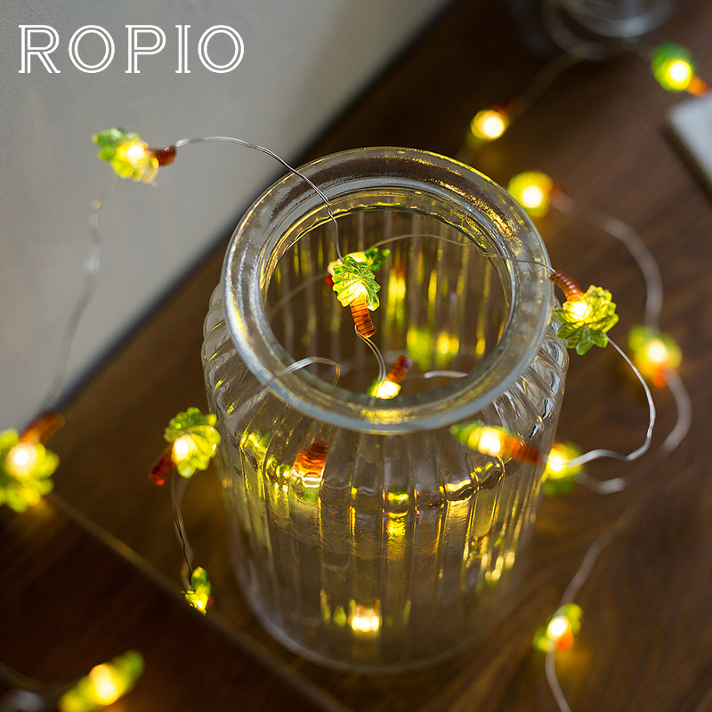 ROPIO 3M Coconut Palm 30 LEDs Lighting Strings Silver Copper Wire 4.5V Warm White With AA Battery For Wedding Party Home Decor