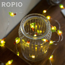 ROPIO 3M Coconut Palm 30 LEDs Lighting Strings Silver Copper Wire 4.5V Warm White With AA Battery For Wedding Party Home Decor(China)