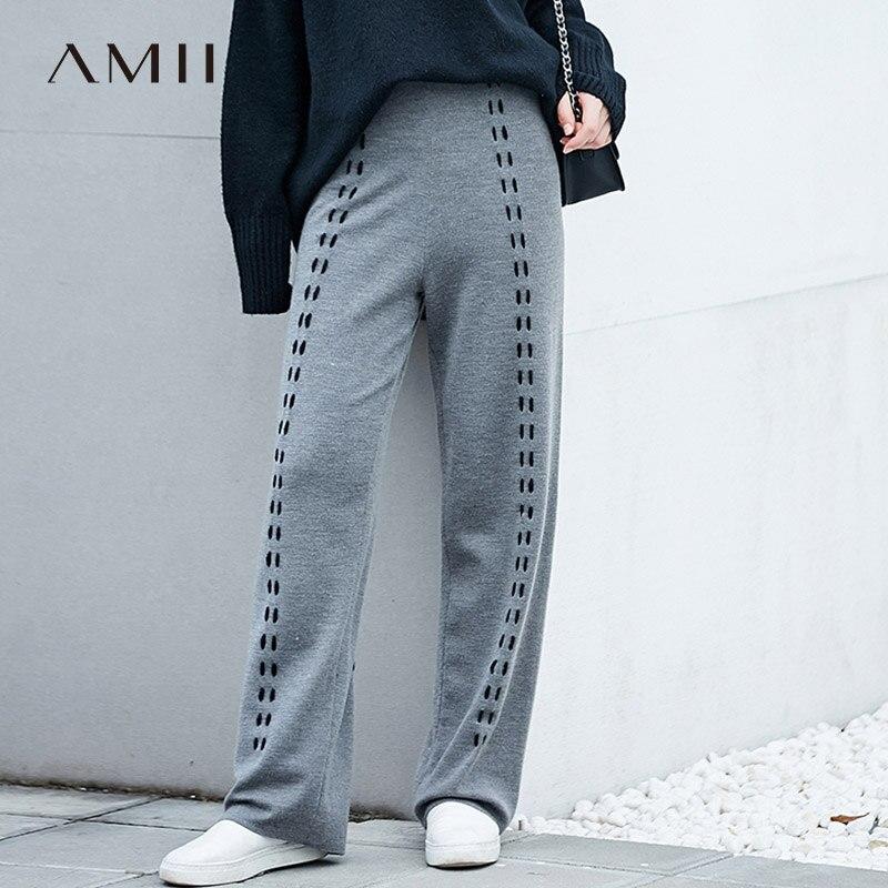 AMII Minimalist Knitted Wide Leg Pants Women Winter 2019  Chic Striped Wool Empire Elastic Waist  Female Long Trousers