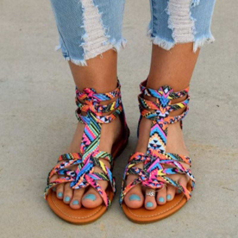 Bohemian Women Flat Shoes Summer Gladiator Roman Sandal Colorful Boho Sandalias Mujer Colorful Female Beach Flat Plus Size 34-43 female gladiator wedges sandal hallow out platforms high wedge shoes women rivets summer sandal beach vintage women size 34 39