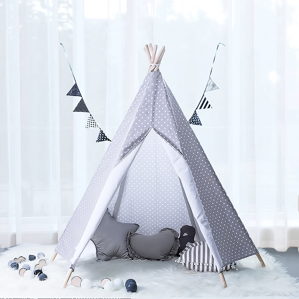 Kids Teepee Play Tent Large Handcraft Grey Cotton Canvas Play Tent Kids Playhouse by Wonder Space, Best Gift For Boys Girls