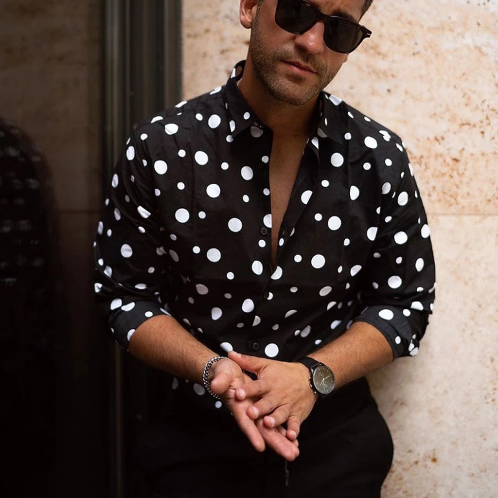 Men Shirt Long Sleeve Men's Fashion Loose Casual Long-sleeved Polka Dot Printed Shirt Top Blouse Shirt Men Casual