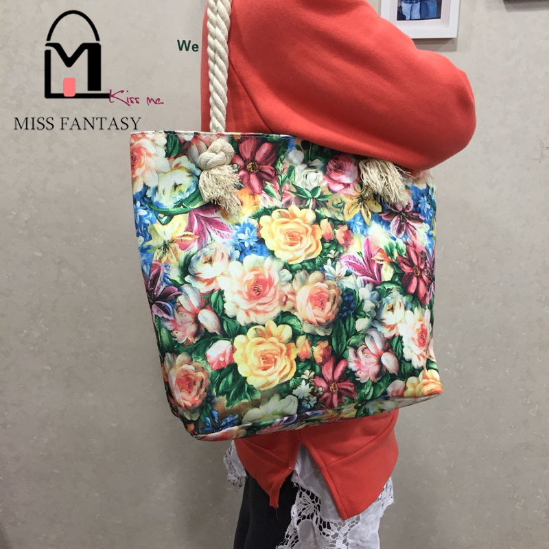 de corda de nylon tote Estilo : Female Casual Beach Bags Women Single Shopping Bag