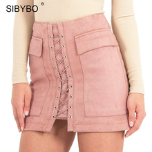 Autumn Winter Suede Leather Skirts Womens 2016 Vintage Pocket Preppy High Waist Lace Up Casual Mini