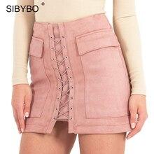 Otoño invierno faldas para mujer de cuero de gamuza 2016 vintage bolsillo de muy buen gusto de la alta cintura de encaje hasta casuales mini faldas lápiz ee.uu. tamaño