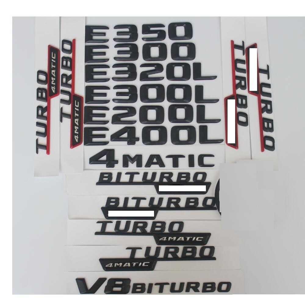 Mercedes Benz E sınıfı için E63 E43 E55 AMG E200 E250 E300 E320 E350 E400 4MATIC CDI gövde arka amblem rozeti siyah harfler amblemleri