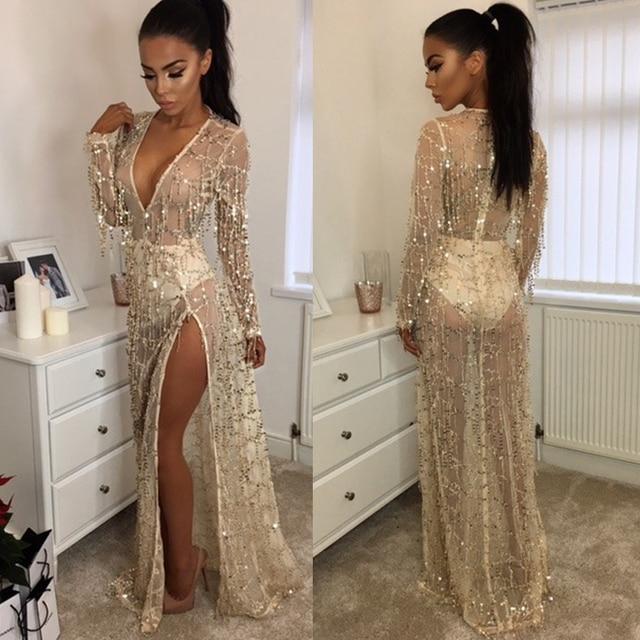 Sexy Sequin Long Dress Women V-neck Summer Party Dresses Mesh See Through  Beach Sundress robe Long Sleeve split Maxi Dress 2018 4eb6e5c1c727