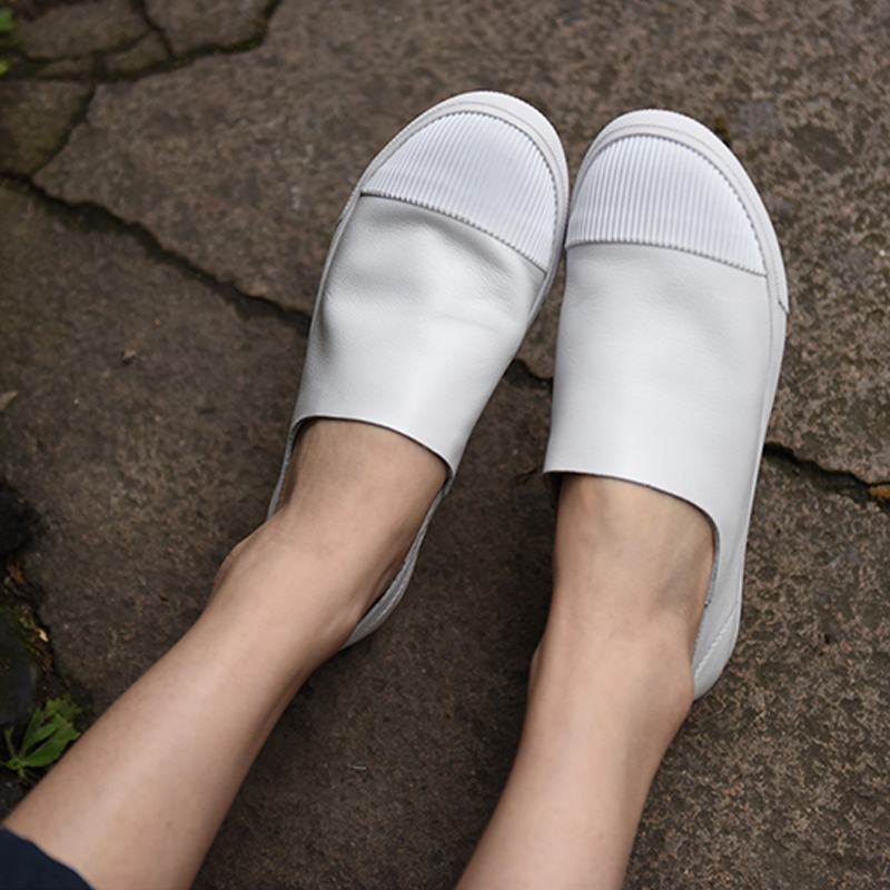 Artmu Loafers Women Shoes Handmade Genuine Leather Shoes Fashion Slip On White Shoes High Quality Woman