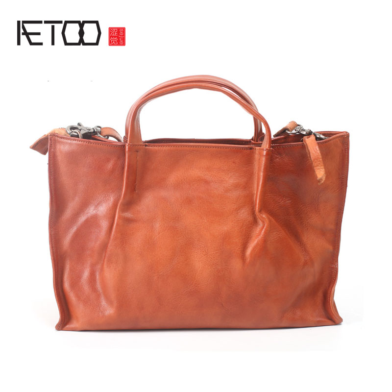AETOO Original design retro bag soft leather leather handbags art casual large capacity shoulder diagonal package leather handba aetoo european goods art casual leather