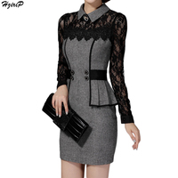 2017 New Arrival Bodycon Vintage Casual Elegant OL Style Women Dress Lace Sleeve Spliced Slim Ladies