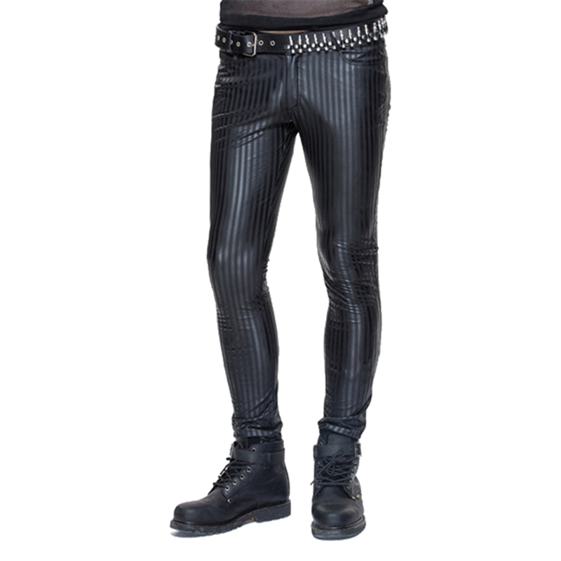 Gothic Men Skinny Trousers Steampunk Slim-fitting Striped Formal Pencil Pants Slim-fitting Long Trousers grey 2015 spring male personality splice skinny pants the trend straight trousers slim long trousers thin men skinny jeans