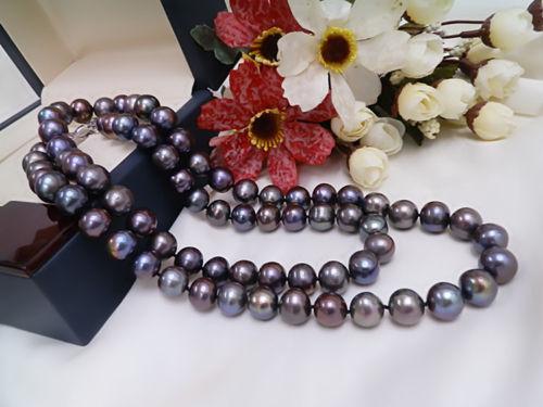 Charming 9-10mm natural tahitian black pearl necklace 22 inch [ys] 9 10mm black loose natural tahitian pearls