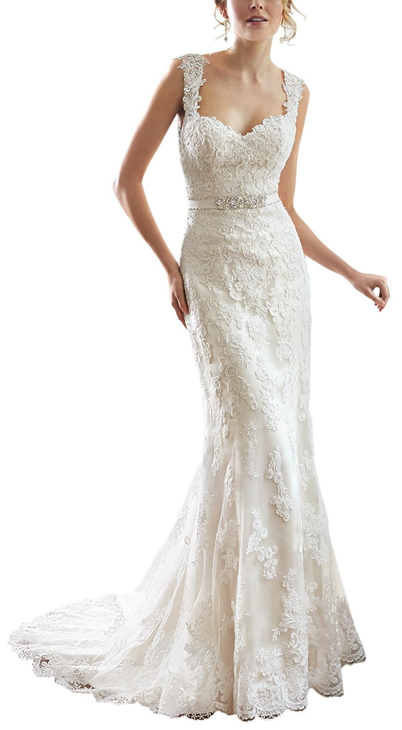 Buy sexy v back sweetheart neckline lace for Lace wedding dress belt