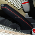 For Nissan March Versa Note Genuine leather DIY  Handbrake Cover Auto interior decoration Car styling