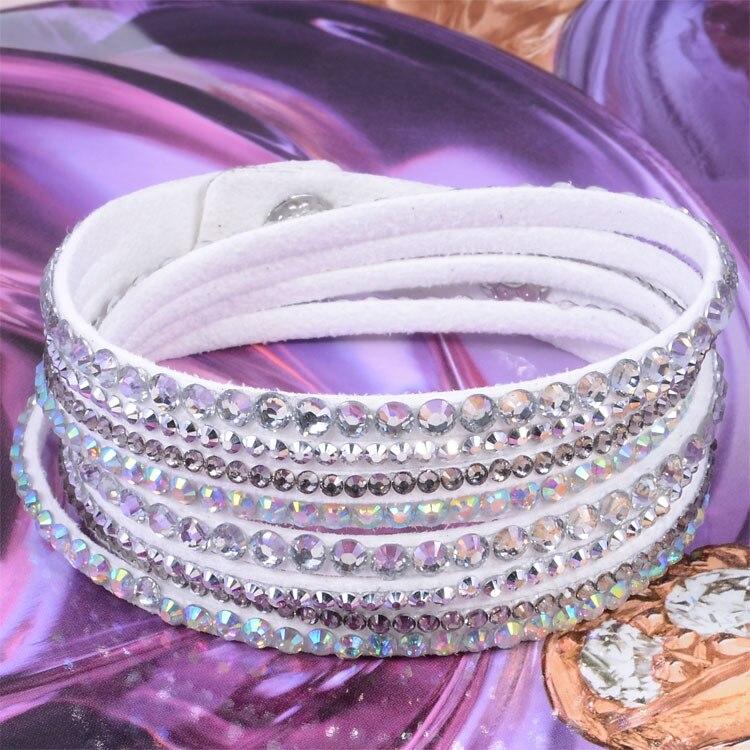 7c3324c815316 New Resin Rhinestone Crystal Wrap Slake Deluxe Double Wrap Leather Bracelet  Bilingbling Full Crystal B1421-in Wrap Bracelets from Jewelry & ...