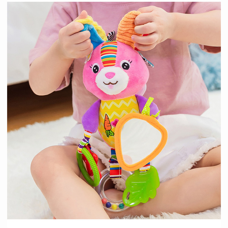 Baby Rattles Toys Stroller Hanging Soft Toy Cute Animal Doll Baby Crib Bed Hanging Bells Toys Elephant Rabbit Dog(China)