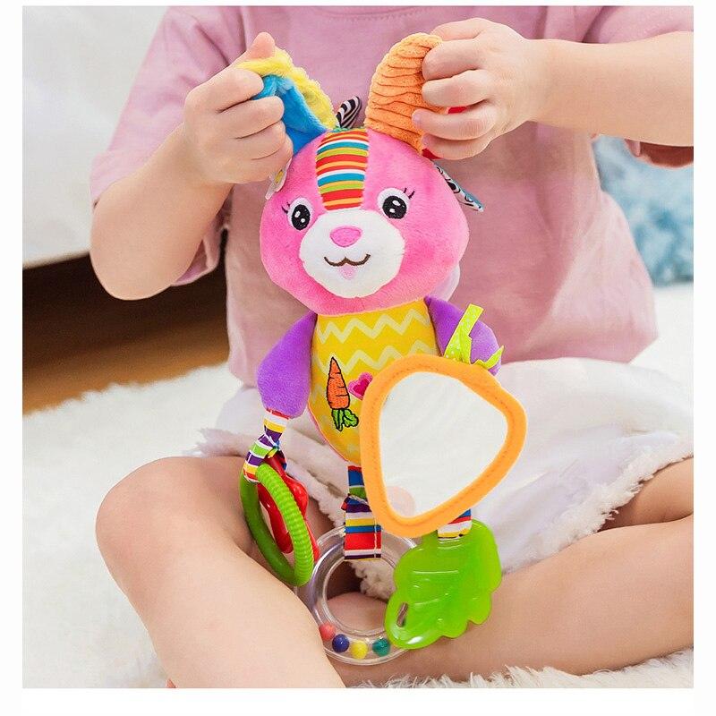 Bebé sonajeros juguetes cochecito colgando juguete suave Animal muñeca bebé cama cuna colgando de juguetes educativos juguetes de elefante conejo perro