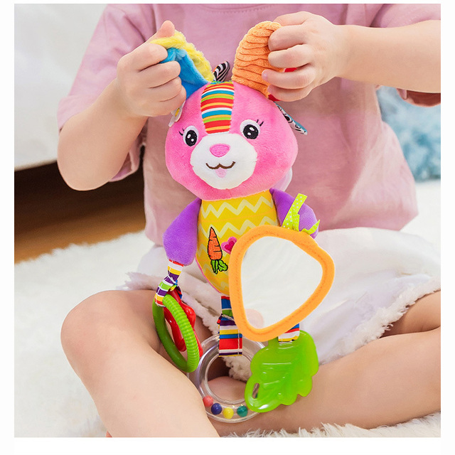 Sonajeros de bebé juguetes cochecito colgante suave juguete lindo Animal muñeca bebé cama colgante campanas juguetes elefante conejo perro