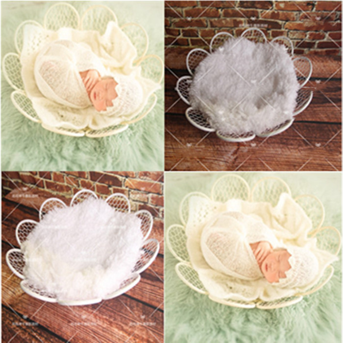 New Arrival Newborn No Blanket Children Photography White Flowers Wrought Iron Round Net Photography Props Basket Props Toy Gift