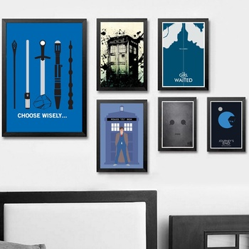 футболка print bar doctor who evolution Doctor Who TV Series Art Silk Poster Print Wall Pictures Living Room Decor Starry Night 034