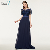 Dressv Blue Bridesmaid Dress Scalloped Edge A Line Short Sleeves Lace Sashes Button Sweep Train Wedding