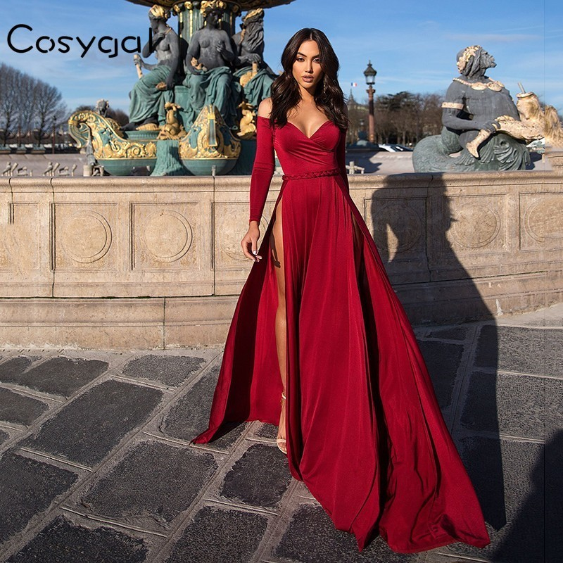 bfd26ef872 COSYGAL Red Black Maxi Dress Women Off The Shoulder Evening Party Autumn  Dress 2018 High Slit Sexy Club Long Dress Vestidos-in Dresses from Women's  Clothing ...