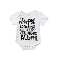 Newborn Infant Baby Boy Girl Soft Loose Romper Jumpsuit Clothes Outfits Toddler Adorable Baby Summer Letter Print White Romper(China)